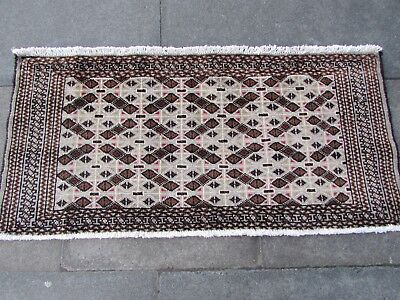 Old Hand Made Traditional Persian Turkoman Oriental Wool Brown Rug 60x125cm