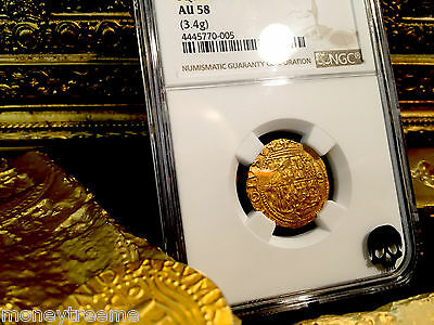 "SPAIN 1 ESCUDO 1516-1556 ""SQ D TO LEFT"" GOLD COB DOUBLOON NGC 58 TREASURE COIN!"