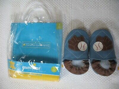 MINISTAR BABY BOY BASEBALL SLIP-ON SHOES SIZE 0-6 MONTHS NEW