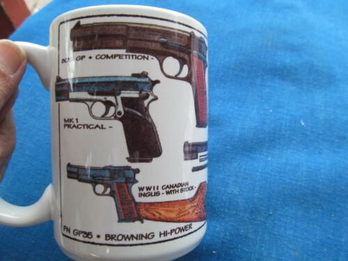 CUPPA 15 OZ. CERAMIC MUG BROWNING HI-POWER REVOLVERS FN GP35 2000 USA