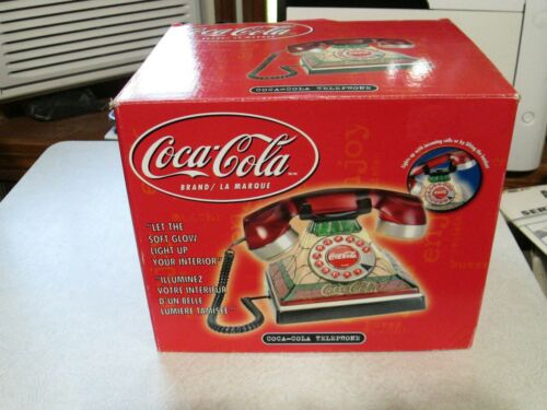 NEW, Vintage Coca-Cola Stained Glass Look Tiffany-Style Light up Telephone