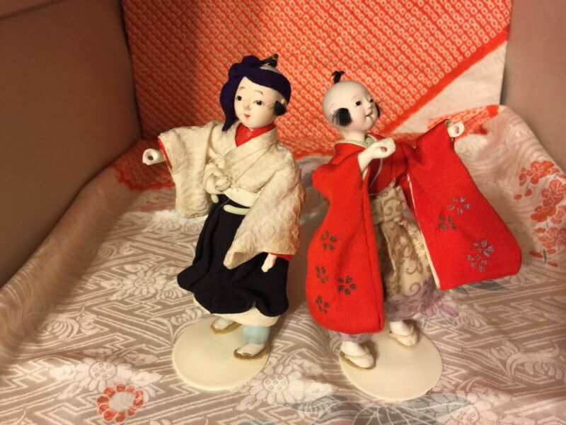 "2 ANTIQUE MINI ICHIMATSU 4"" BOY DOLLS* AUTHENTIC JAPANESE STYLE ATTIRE"