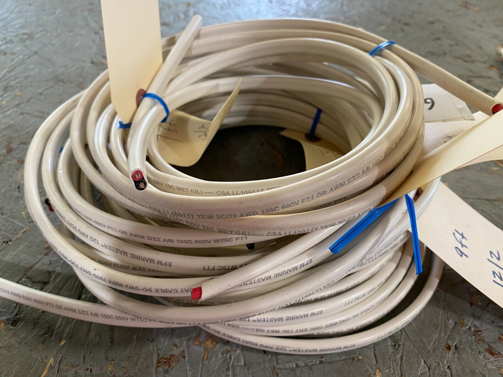 12/2 AWG MARINE MASTER DUPLEX TINNED COPPER FLAT BOAT CABLE LOT 1 Business & Industrial