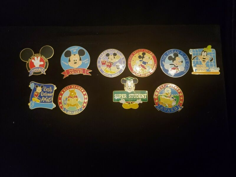 Disney Award Pins Lot of 10 Best Reader Clean Room Clean Plate Super Student