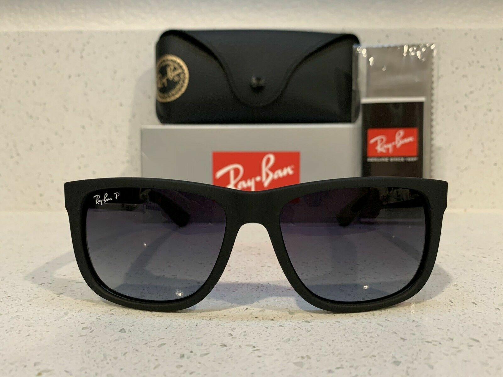 New RayBan Classic Justin Black Frame W Gray Gradient Polarized Lens RB4165