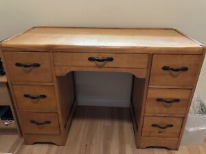Wooden Desk with Shelves