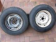 """FORD Steel wheels, 14 inch, 6"""" x 14"""" with tyres, a pair. St Agnes Tea Tree Gully Area Preview"""