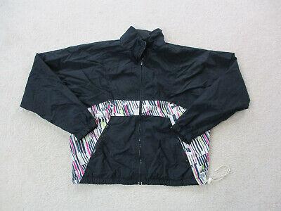 VINTAGE Nike Jacket Adult Large Black Purple Swoosh Windbreaker Coat Mens 90s*