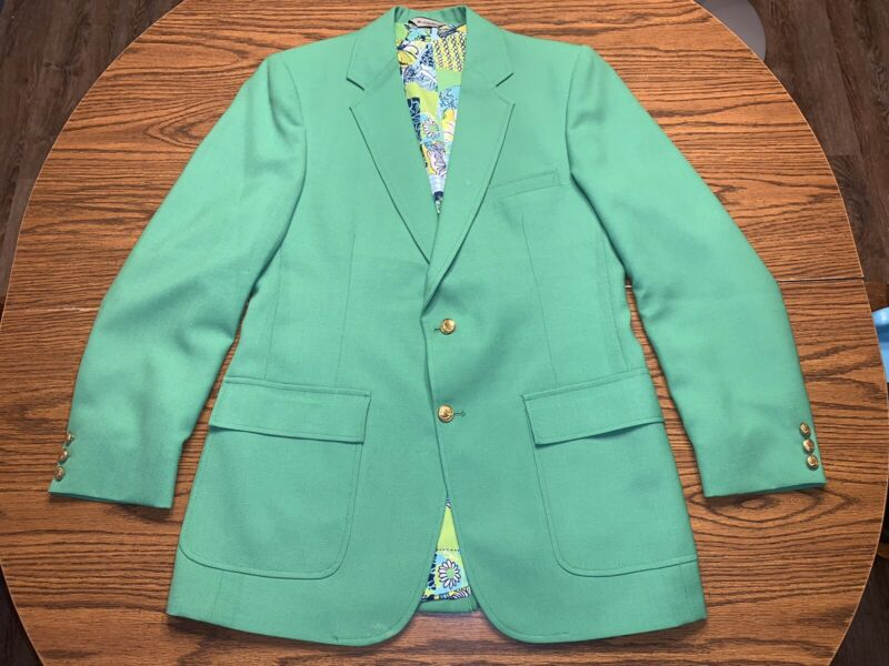 Vintage Lilly Pulitzer Mens Stuff Palm Beach Blazer Size 39 Green Gold Button