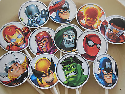 Super Hero Happy Birthday Toppers NEW Packed 12 American Hero Spiderman Ironman - Spiderman Cupcake Picks