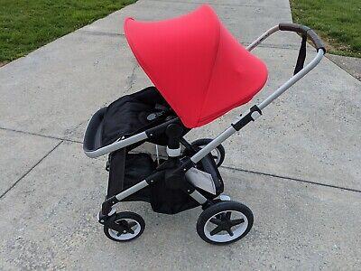 Bugaboo Fox Stroller. Aluminum Black w/ Neon Red Hood. See Description