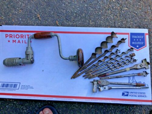 """Stanley 923 8"""" Ratcheting Auger Hand Drill & 11 Bits - 6 Irwin"""