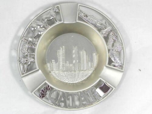 Qatar Souvenir Metal Ashtray - Skyline, Flag, Map, Boat, Camel, Horse, Bird