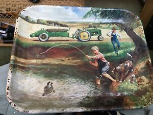 John Deere Serving Tray/Fishing Theme
