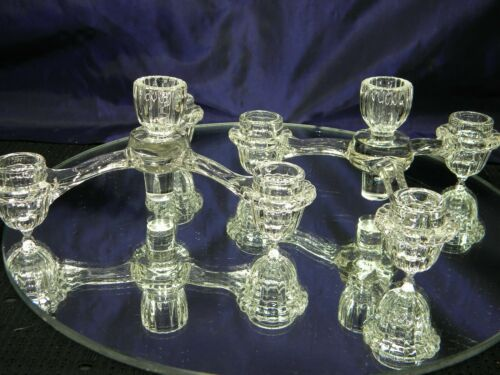 PAIR EAPG Vintage Glass Candle Holders