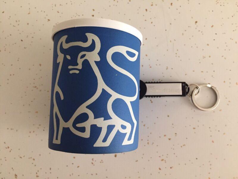 Vintage Merrill Lynch Bull Can Koozie and 32 MB (megabytes) USB Circa  2000s