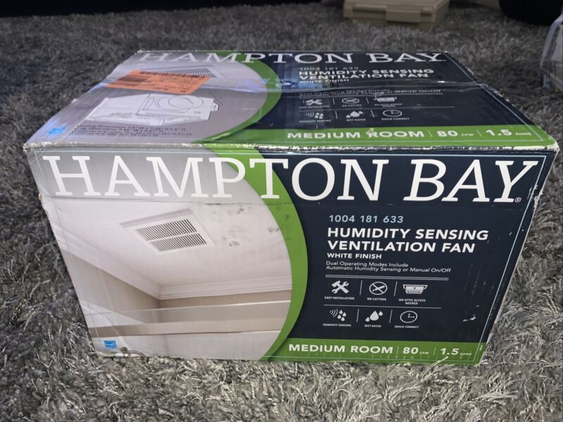 NEW HAMPTON BAY 80 CFM Ceiling Mount Roomside Installation Humidity Sensing Bath