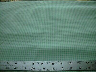 1/2 Yd Gingham Check Fabric Light Green White 1/16