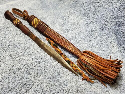 "Antique subSaharan West Africa Dagger & Sheath Mandika Mandigo Malinke Knife 11"""