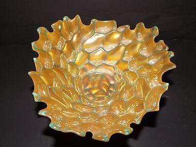 MURANO ART STYLE GLASS IRIDESCENT YELLOW GOLD HONEYCOMB GREEN DISH BOWL