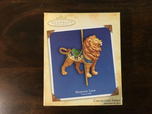 Hallmark Keepsake Christmas Ornament Majestic Lion Carousel Ride in box 2004