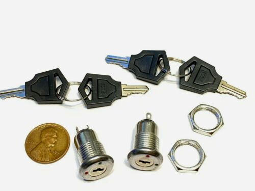 2 Pieces Metal on off switch key lock 2 position spst security A2