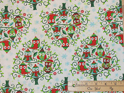 Owl Be Home for Christmas Owl Tree SPX Fabric by the 1/2 yard  #25584 - Christmas Owls