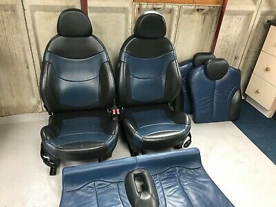 Mini Cooper Leather Seats Interior Full Leather Lapis Blue Black Front and Rear