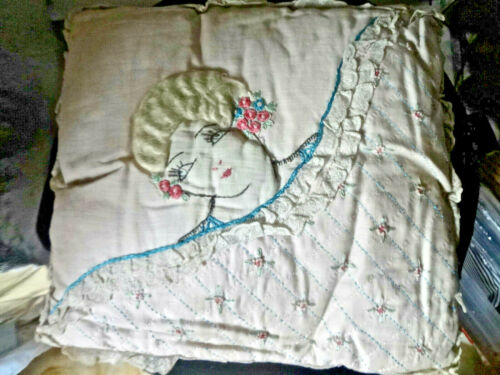 """Antique 1920s Hand Embroidered Flapper Face Throw Pillow With """"Hair"""""""