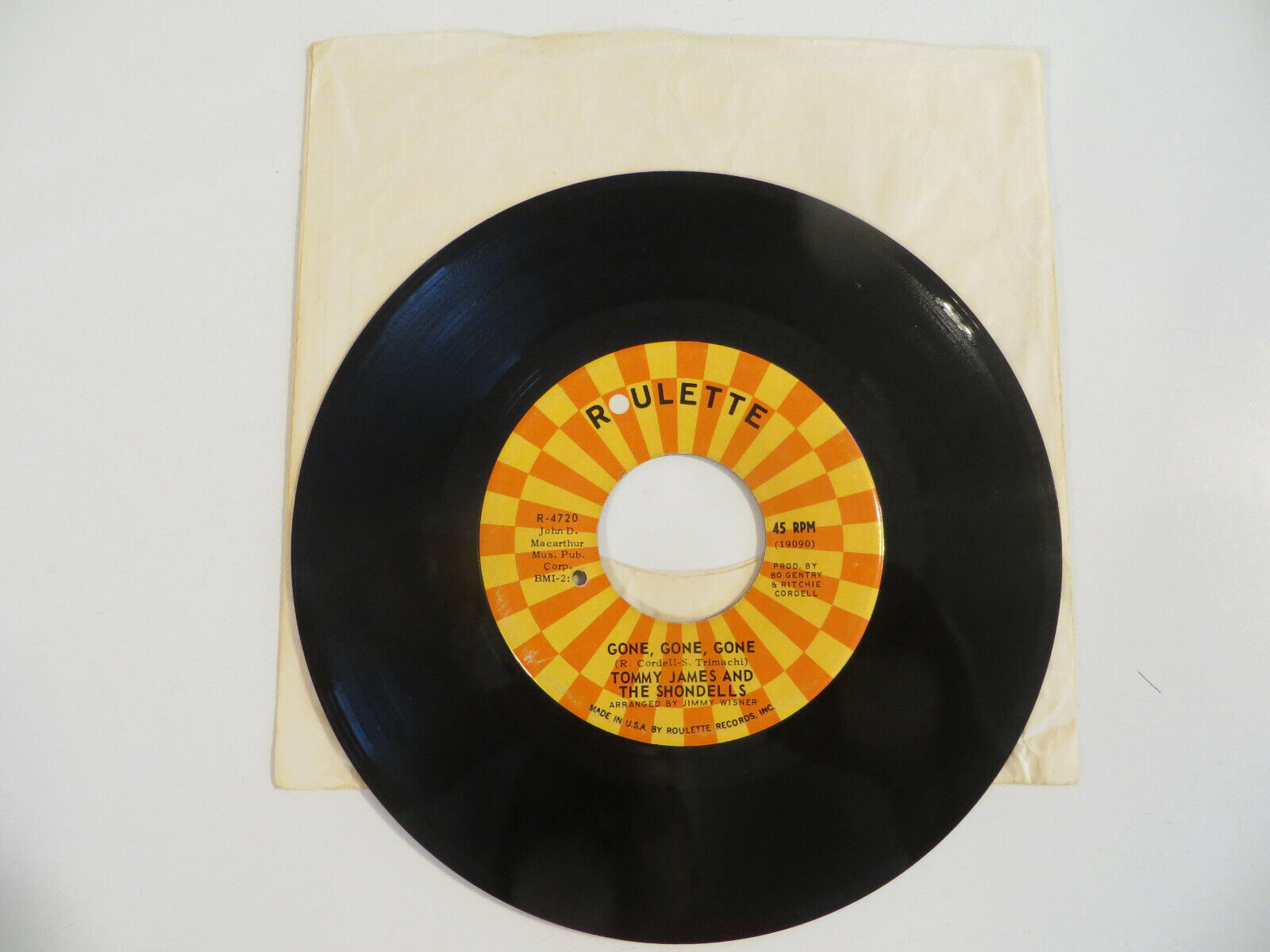 TOMMY JAMES AND THE SHONDELLS I Think We re Alone Now 45 RPM 7 1967 Roulette - $1.99