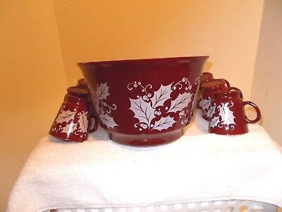 7pc Vintage Anchor Hocking CHRISTMAS CRANBERRY Set Punch Bowl w/6 Cups! ()
