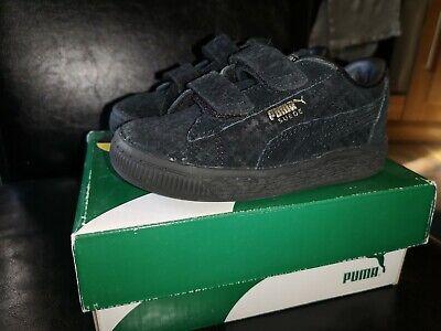 Puma Batman Suede Trainers Infant Size 7 EUR 24 US 8C Black with Gold Detailing