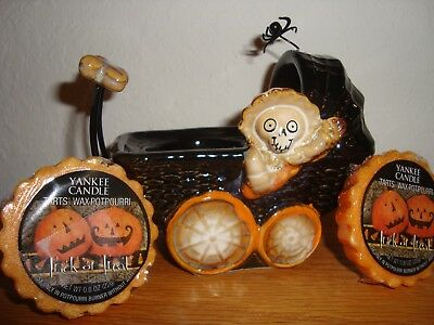 YANKEE CANDLE BONEY BUNCH BABY BUGGY & RETIRED TRICK OR TREAT BLK LABELTARTS