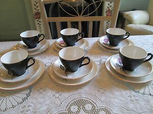 Swinnertons Nestor Vellum tea set 50's cups, saucers & tea plates grey/pink rose