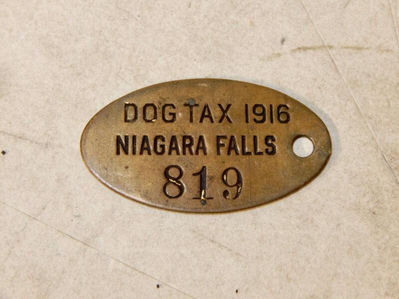 ANTIQUE DOG LICENSE TAX NIAGARA FALLS NEW YORK 1916