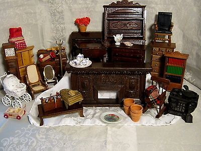 Vintage Miniature Victorian Doll House Furniture Lot 18 Pieces + 12 + Accs.