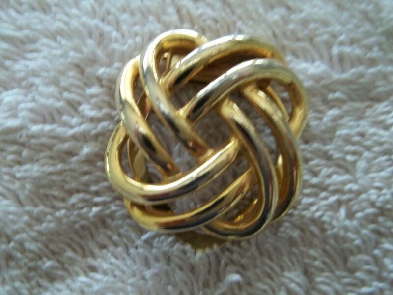 "Vintage ""Liebo"" Scarf/Dress Clip, Gold Tone Metal, Open Swirl Design"