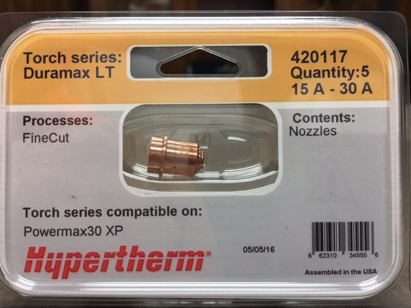 Genuine Hypertherm 420117 Nozzles Fine Cut Powermax 30 XP Plasma 5 Pack Duramax