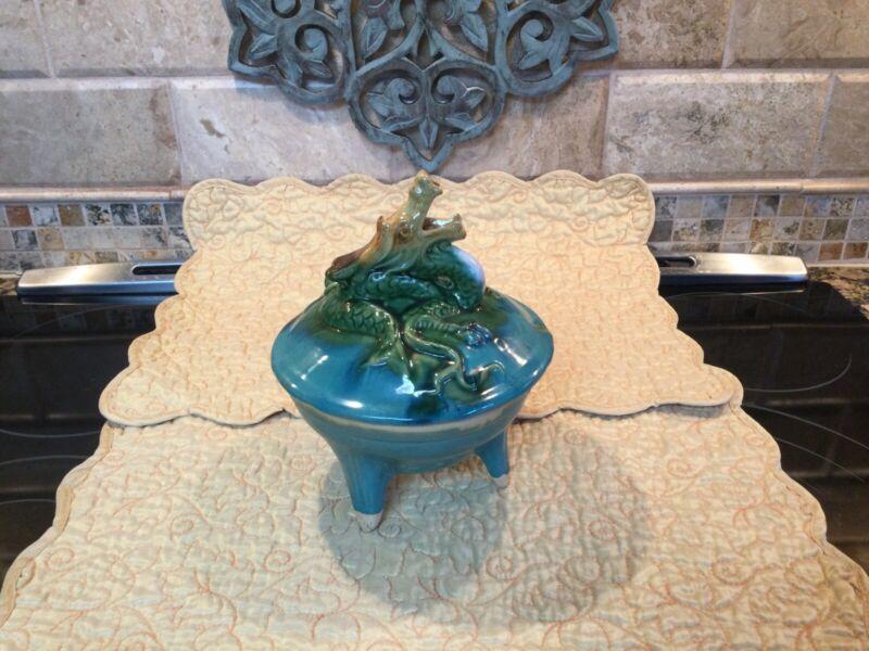 Vintage Glazed Ceramic Dragon Incense Burner