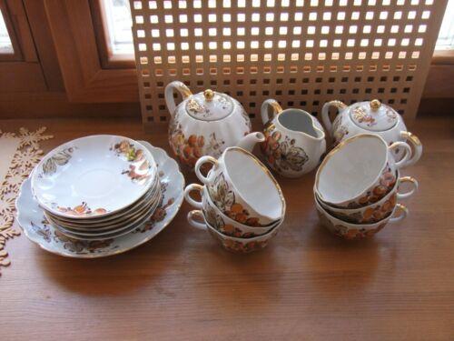 "Lomonosov LFZ Tea set ""Golden grapes"" 16 pieces made in USSR Soviet Porcelain"