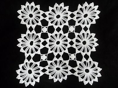 Vintage White Crochet Doily 9 Motif Square 11 inch CD108