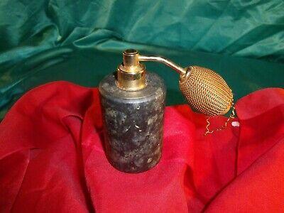 Marmor Parfüm (alter Parfüm Zerstäuber mit Pumpe Marmor dunkel grau meliert gold Parfüm Flakon )