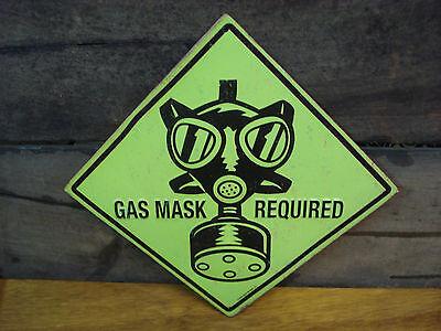 GAS MASK REQUIRED METAL SIGN garage machine shop mechanic tool mancave equipment