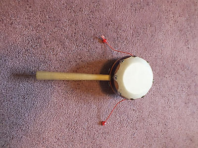Collectible Hand Held Musical Drum Sound Brown Stripes Beads UNIQUE