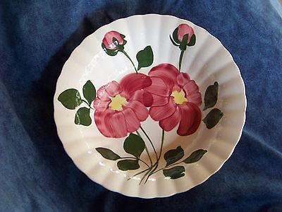 Vintage Blue Ridge Hand Painted Red Flower Serving Bowl USA