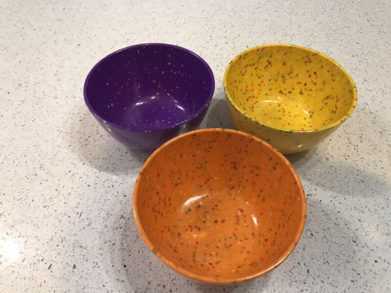 "ZAK DESIGNS Set of 3 Confetti Melamine 5""Bowls Set ExcPurple Orange Yellow"