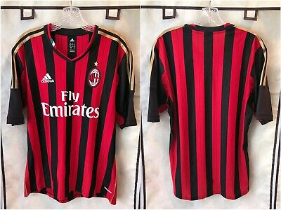 AC Milan 2013/14 Home Soccer Jersey Large Adidas Serie A