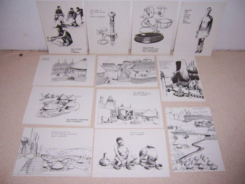 EARLY GREAT ZIMBABWE, AFRICA HISTORICAL ART POSTCARD LOT