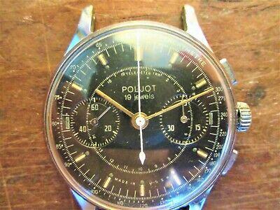 Vintage Poljot Strela Chronograph Caliber 3017,19 jewels dial BLACK, year 1956,