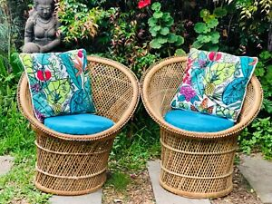 VINTAGE BOHO PR OF NATURAL CANE WICKER ADULT TUB CHAIRS ($220.00 PR)